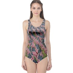 Repetition Retro Wallpaper Stripes One Piece Swimsuit