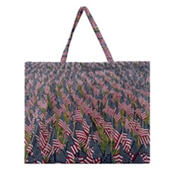 Repetition Retro Wallpaper Stripes Zipper Large Tote Bag