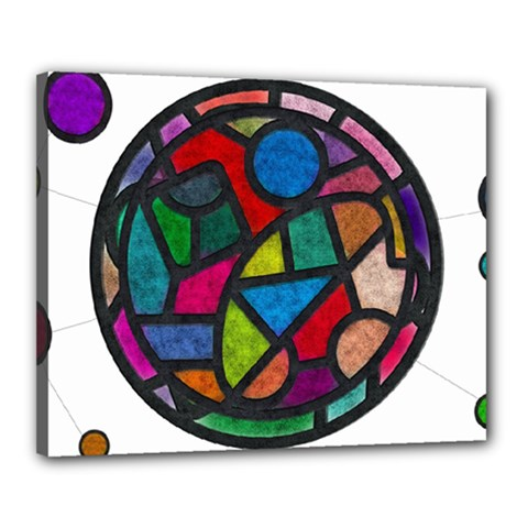 Stained Glass Color Texture Sacra Canvas 20  X 16