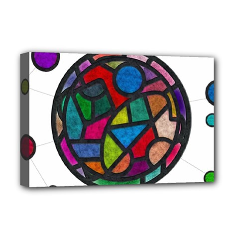 Stained Glass Color Texture Sacra Deluxe Canvas 18  x 12