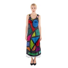 Stained Glass Color Texture Sacra Sleeveless Maxi Dress