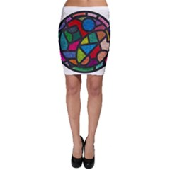 Stained Glass Color Texture Sacra Bodycon Skirt