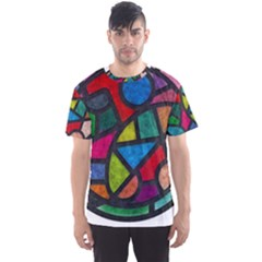 Stained Glass Color Texture Sacra Men s Sports Mesh Tee