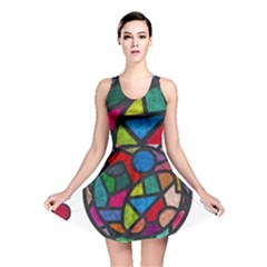 Stained Glass Color Texture Sacra Reversible Skater Dress