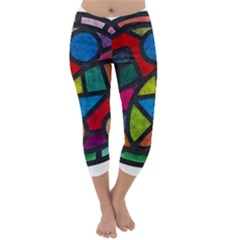 Stained Glass Color Texture Sacra Capri Winter Leggings