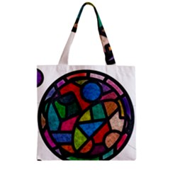 Stained Glass Color Texture Sacra Zipper Grocery Tote Bag