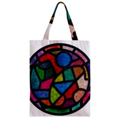 Stained Glass Color Texture Sacra Zipper Classic Tote Bag