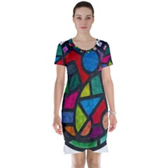 Stained Glass Color Texture Sacra Short Sleeve Nightdress