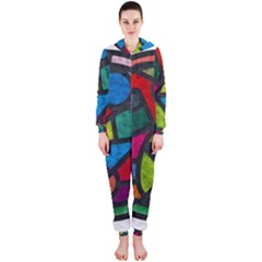 Stained Glass Color Texture Sacra Hooded Jumpsuit (Ladies)