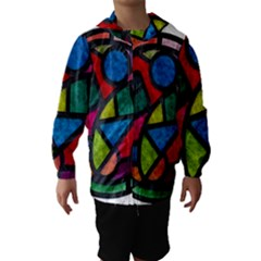 Stained Glass Color Texture Sacra Hooded Wind Breaker (kids)