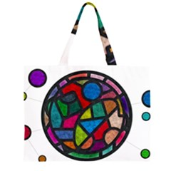 Stained Glass Color Texture Sacra Zipper Large Tote Bag