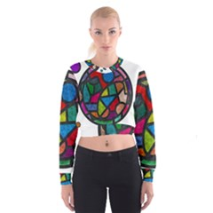 Stained Glass Color Texture Sacra Cropped Sweatshirt
