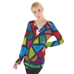 Stained Glass Color Texture Sacra Women s Tie Up Tee