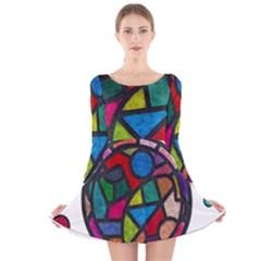 Stained Glass Color Texture Sacra Long Sleeve Velvet Skater Dress