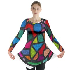 Stained Glass Color Texture Sacra Long Sleeve Tunic