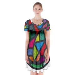 Stained Glass Color Texture Sacra Short Sleeve V-neck Flare Dress