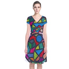 Stained Glass Color Texture Sacra Short Sleeve Front Wrap Dress
