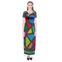 Stained Glass Color Texture Sacra Short Sleeve Maxi Dress