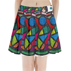Stained Glass Color Texture Sacra Pleated Mini Skirt