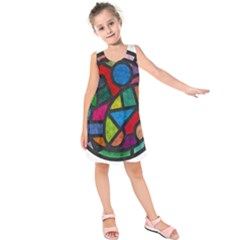 Stained Glass Color Texture Sacra Kids  Sleeveless Dress