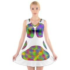 Paw V Neck Sleeveless Skater Dress