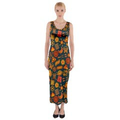 Pattern Background Ethnic Tribal Fitted Maxi Dress