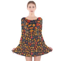 Pattern Background Ethnic Tribal Long Sleeve Velvet Skater Dress