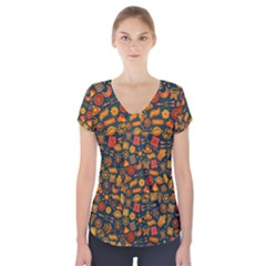 Pattern Background Ethnic Tribal Short Sleeve Front Detail Top