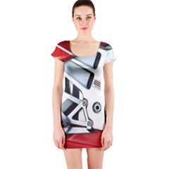 Footrests Motorcycle Page Short Sleeve Bodycon Dress