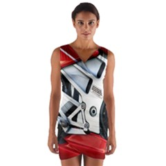 Footrests Motorcycle Page Wrap Front Bodycon Dress