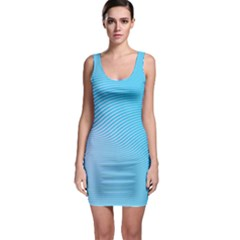 Background Graphics Lines Wave Sleeveless Bodycon Dress