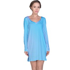 Background Graphics Lines Wave Long Sleeve Nightdress