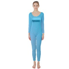 Background Graphics Lines Wave Long Sleeve Catsuit
