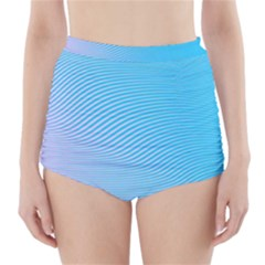 Background Graphics Lines Wave High-Waisted Bikini Bottoms