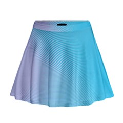 Background Graphics Lines Wave Mini Flare Skirt