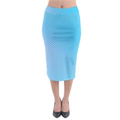 Background Graphics Lines Wave Midi Pencil Skirt