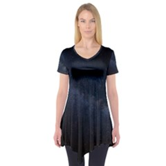 Cosmos Dark Hd Wallpaper Milky Way Short Sleeve Tunic