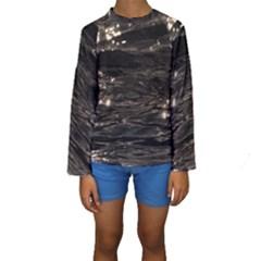 Lake Water Wave Mirroring Texture Kids  Long Sleeve Swimwear