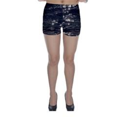 Lake Water Wave Mirroring Texture Skinny Shorts