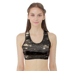 Lake Water Wave Mirroring Texture Sports Bra With Border
