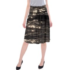 Lake Water Wave Mirroring Texture Midi Beach Skirt