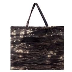Lake Water Wave Mirroring Texture Zipper Large Tote Bag