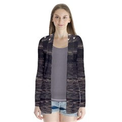 Lake Water Wave Mirroring Texture Drape Collar Cardigan