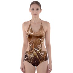 Ice Iced Structure Frozen Frost Cut Out One Piece Swimsuit