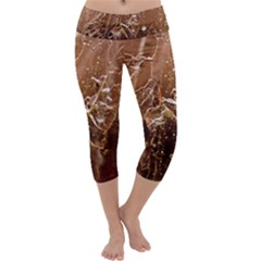 Ice Iced Structure Frozen Frost Capri Yoga Leggings