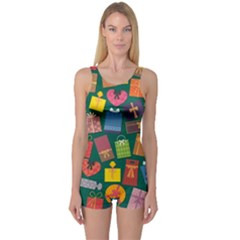 Presents Gifts Background Colorful One Piece Boyleg Swimsuit