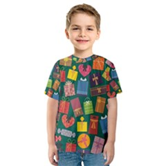 Presents Gifts Background Colorful Kids  Sport Mesh Tee
