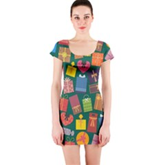 Presents Gifts Background Colorful Short Sleeve Bodycon Dress