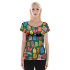 Presents Gifts Background Colorful Cap Sleeve Tops