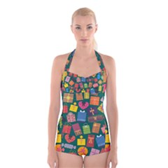 Presents Gifts Background Colorful Boyleg Halter Swimsuit